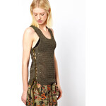 Edun Crochet Tank with Army Issue Straps - Green
