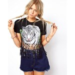 ASOS RECLAIMED VINTAGE T-Shirt in Tiger Print with Fringing