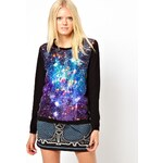 The Textile Rebels Wool Cashmere Jumper with Galaxy Print Silk Mix Panel