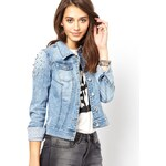 Only Denim Jacket With Stud Sleeves
