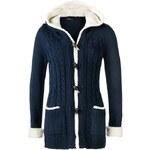 Pletený kabátek s medvídkovým kožíškem bonprix