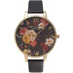 Topshop **Olivia Burton Winter Garden Black and Gold Watch