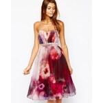 Little Mistress Bandeau Midi Prom Dress in Blurred Floral Print - Multi