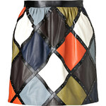Valentino Leather Harlequin Mini-Skirt