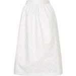 Topshop White Textured Midi Skirt