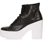 Topshop Asterix Croc Chunky Lace-Ups