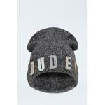 "Tally Weijl Grey ""DUDE"" Embellished Beanie Hat"