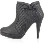 Prošívané kotníčkové boty Refresh v černé barvě