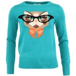 Zelený svetr s kočkou intelektuálkou Louche