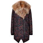 Veronica Beard Jacquard Parka with Fur Collar