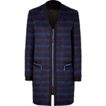 Kenzo Brushed Wool blend Plaid Coat in Neon