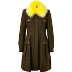 Moschino Cheap and Chic Military-Inspired Coat with Fur Collar