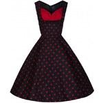 OPHELIA Black Polka - swingové retro šaty inspirované padesátými léty