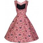 OPHELIA Birdy Pink- swingové retro šaty inspirované padesátými léty