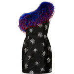 Matthew Williamson One Shoulder Dress with Fur Trim