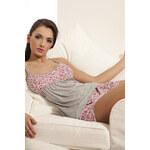 Pyžamo P 020 Donna s růžovými květinami XL