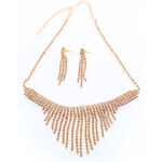 Zlatý set náušnice + náhrdelník Germanotta