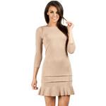 Béžové šaty MOE 114 S