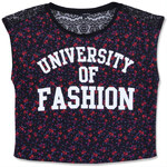 "Tally Weijl Black Floral ""University"" Print Top"