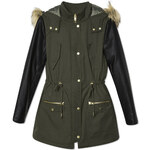 Tally Weijl Green Parka Coat with Faux Leather Sleeves