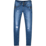 Tally Weijl Blue Ripped Low Waist Skinny Jeans