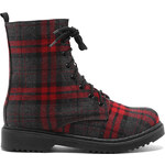 Tally Weijl Red Tartan Chunky Ankle Boots