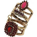 Tally Weijl Goldfarbener Ring mit roten Steinchen - Grösse S