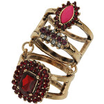 Tally Weijl Gold Double Ring with Stones - Size L