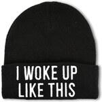 """Tally Weijl Black """"Woke Up"""" Knit Beanie Hat"""