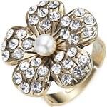 Prsten s květinou a kamínky, INTRIGUE zlatá