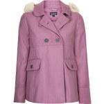 Topshop Faux Fur Hooded Swing Coat
