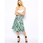 ASOS Quilted Midi Skirt In Floral Print - Green