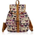 L&S Fashion (Anglie) Batoh LS00269B béžový s motýly 25l