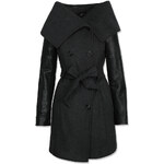 Tally Weijl Black Long Trench Coat with Funnel Neck & Lapel
