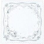 Ubrus Vánoční krajinka stříbrná, 35 x 35 cm