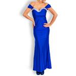 Etina Paris Společenské šaty dlouhé modré s kamínky