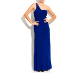 Luccama Spol.dlouhé šaty-jedno rameno s korálky-modr. Uni (S-L)
