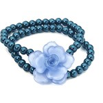 Náramek z korálků s akrylovou květinou, INTRIGUE modrá