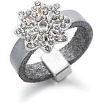 Kožený prsten s květinou s kamínky, INTRIGUE šedá