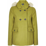 Topshop Faux Fur Hooded Swing Coat