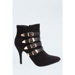 Tally Weijl Black & Gold Buckle Heel Boots