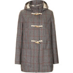 Topshop Check Wool Blend Hooded Duffle Coat