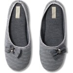 Intimissimi Pinstripe Slippers with Bow Detail