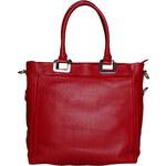 Objemná kožená kabelka Made in Italia / Bologna - červená univerzální