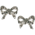 Les Nereides Diamante Bow Stud Earrings