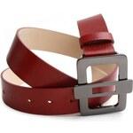 Dámský červený kožený opasek - CLIP
