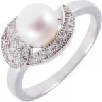 Meucci stříbrný elegantní prsten se sladkovodní perlou a zirkony SMP07R