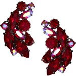 Krystal Siam Red Mix Swarovski Crystal Stud Earrings