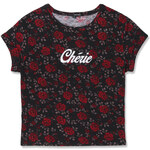 "Tally Weijl Black & Red Floral ""Cherie"" T-Shirt"