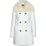Tally Weijl White Double Breasted Coat with Shearling Collar